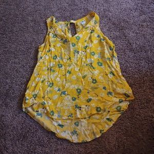 Old navy marigold colored floral tank blouse